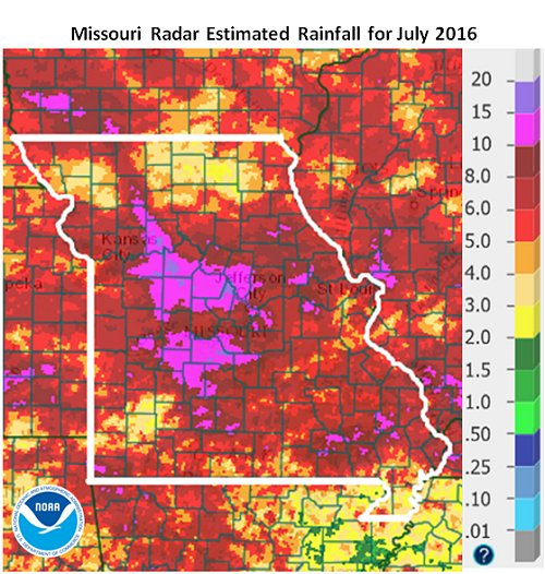 Missouri Radar Estimated Rainfall for July 2016