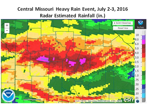 Central Missouri Heavy Rain Event, July 2-3, 2016 Radar Estimated Rainfall (in.)