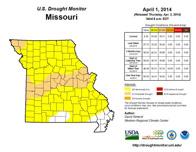 Missouri is experiencing moderate drought