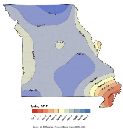 A map from MU Extension�s Frost/Freeze Probabilities Guide.