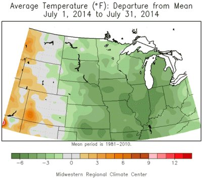 Average Temperature (°F): Departure from Mean, July 1 - July 31, 2014.