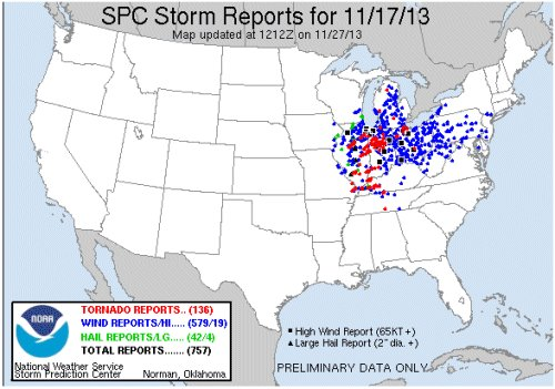 NWS storm reports for Nov. 17