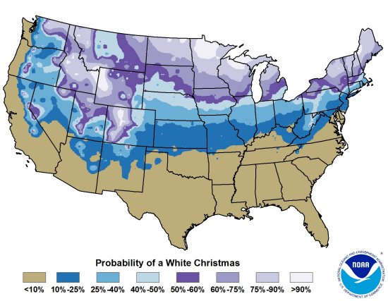 The probability of a white Christmas in the U.S.