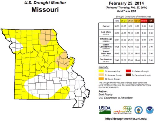 Missouri drought map for Feb. 25, 2014